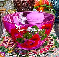 Салатник большой из цветного стекла с декором. Цвет: Розовый. Набор: 1 штука.
