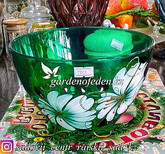 Салатник большой из цветного стекла с декором. Цвет: Зеленый. Набор: 1 штука.