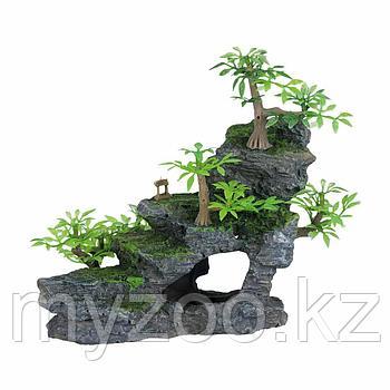 Декорация для аквариума. Гора с растениями 19см