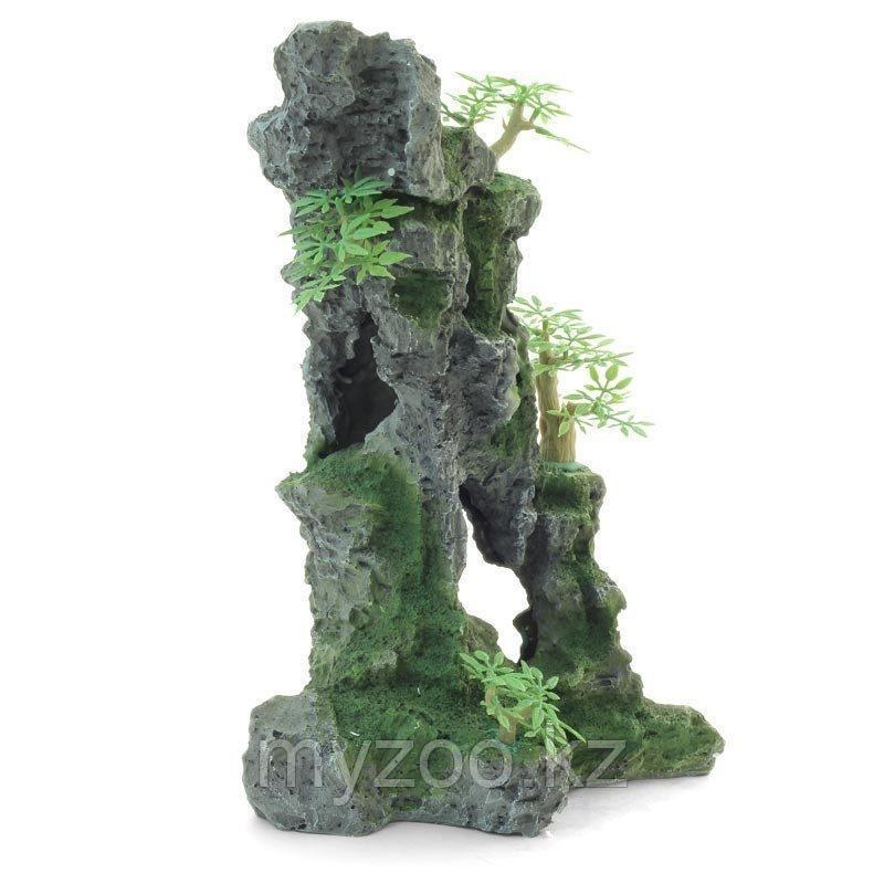 Декорация для аквариума. Гора с растениями 28см