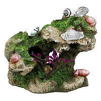 Декорация для аквариума. Скала с улитками и растениями. 11см