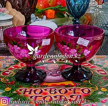 Креманка, на ножке, из цветного стекла с декором. Цвет: Розовый. Набор: 2 штуки.