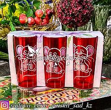 Стаканы из цветного стекла с декором. Цвет: Красный. Набор: 6 штук.