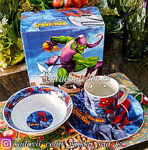 Подарочный набор посуды для ребенка: Человек-паук. Материал: Керамика.
