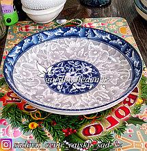 Тарелка большая, суповая, с узором. Цвет: Серый/Синий. Материал: Керамика.