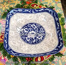 Тарелка большая, подставная, с узором. Цвет: Серый/Синий. Материал: Керамика.
