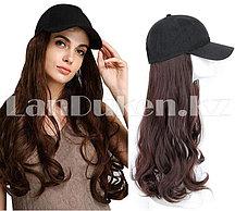 Кепка-парик с волнистыми волосами синтетический каштановый блестящий 2\33