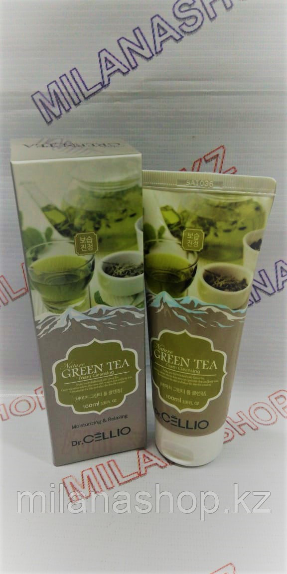 Dr.Cellio Green Tea Foam Cleansing Moisturizing & Relaxing 100 ml -  Увлажняющая  пенка на основе зеленого чая
