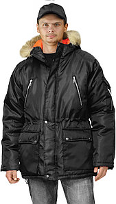 Черная зимняя мужская рабочая куртка в Алматы