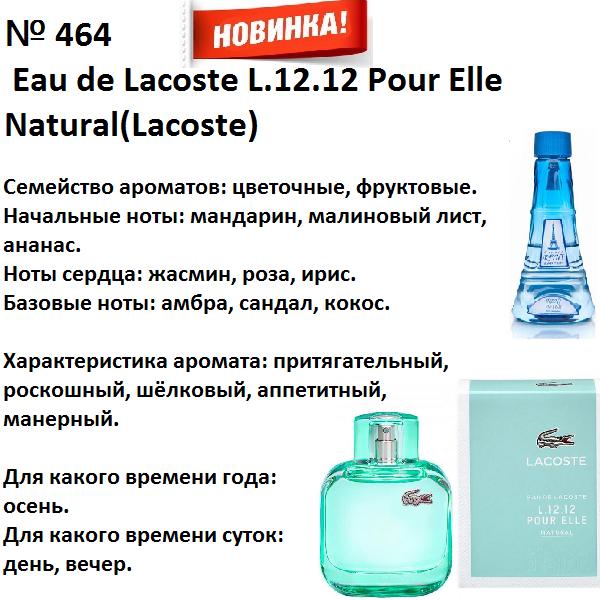 Аромат направление eau de lacoste l.12.12 pour elle natural (lacoste) 100мл