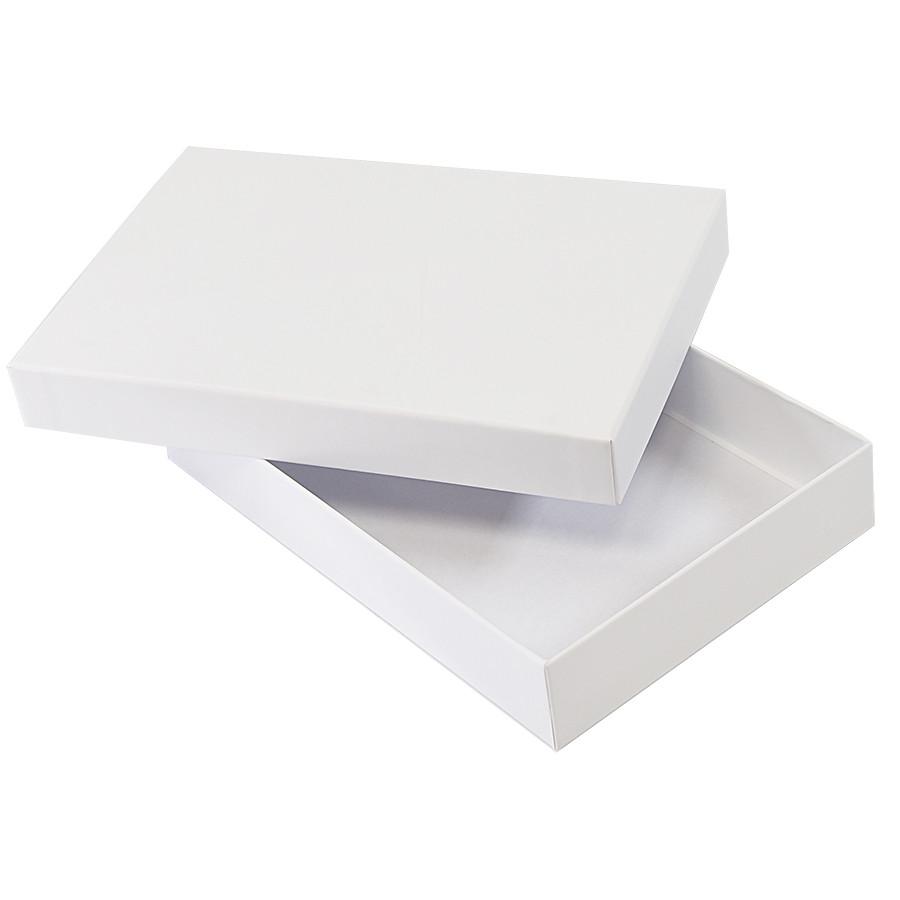 Коробка подарочная, белый, 16х24х4 см, кашированный картон, тиснение, конструкция крышка-дно