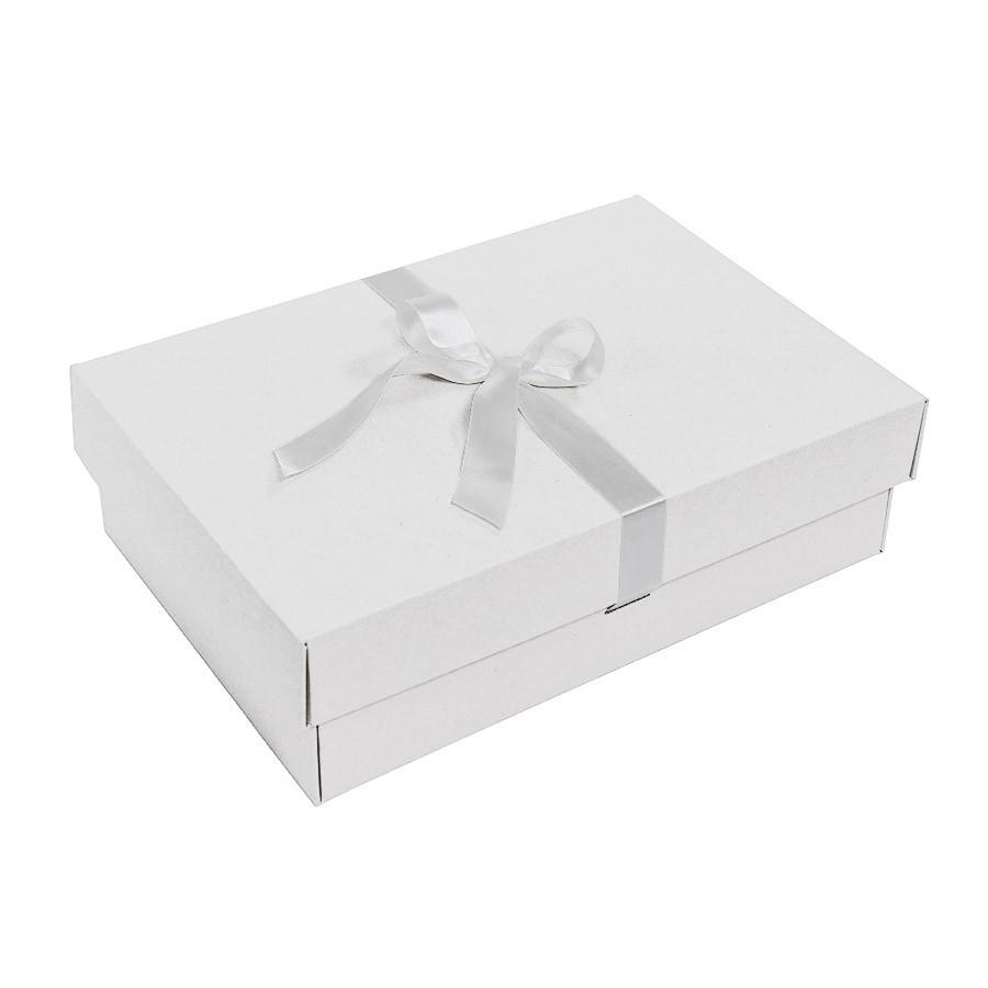 Коробка подарочная, микрогофрокартон белый, с лентой белой атласной