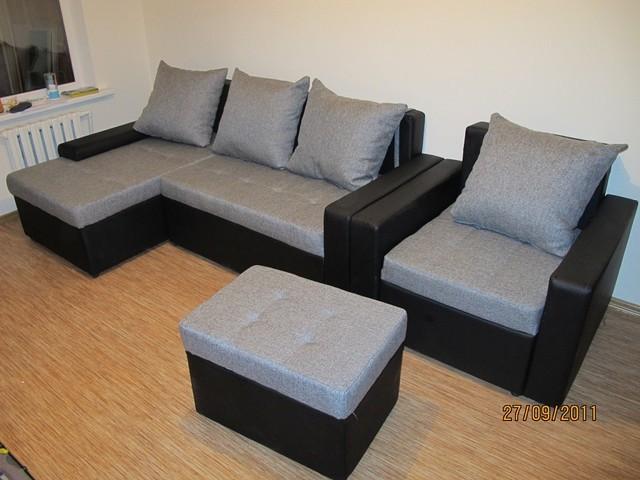 Вариант расцветки  и компановки углового дивана  в комплекте с креслом и пуфиком