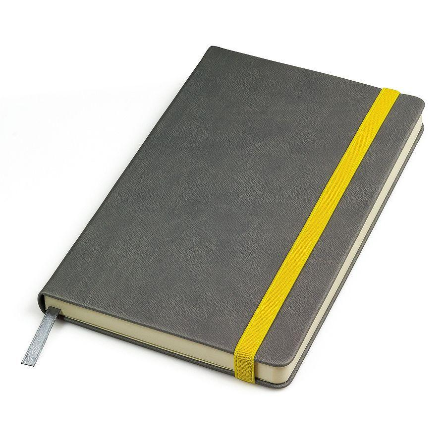 """Бизнес-блокнот """"Fancy"""", 130*210 мм, серый/желтый, твердая обложка, резинка 10 мм, блок-линейка"""