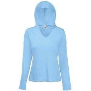 "Футболка ""Lady-Fit Lightweight Hooded T"", небесно-голубой_XS, 100% х/б, 135 г/м2"