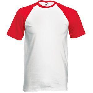"""Футболка """"Short Sleeve Baseball T"""", белый с красным_S, 100% х/б, 160 г/м2"""