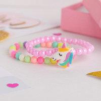 Набор детских браслетов 'Выбражулька' 2шт, единорог, цветные