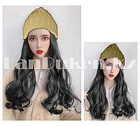 Шапка парик с волнистыми волосами синтетический каштановый блестящий бежевый 1#