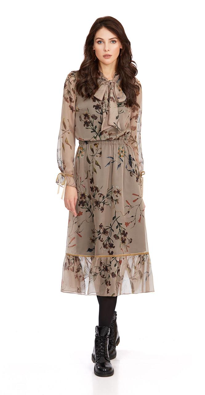 Платье PiRS-796/1, бежевый в цветы, 42