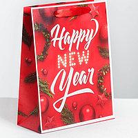 Пакет подарочный новогодний ламинированный в ассортименте 18 × 23 × 8 см