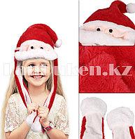 Шапка с двигающимися усами Дед Мороз меховая красная