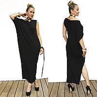 Платье трикотажное ассиметричное без рукавов со спущенным плечом