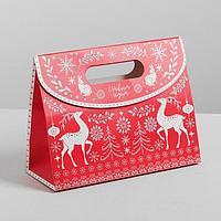 Пакет подарочный новогодний с клапаном Новый год олени горизонтальный 23 х 18 х 10 см