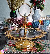 Фруктовница из стекла в металлическом каркасе с ручкой для переноса. Цвет: Прозрачный/Золотой.