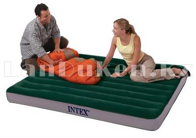 Надувной матрас кровать полуторный Intex с технологией Fiber-Tech 137*191*25 см 64108