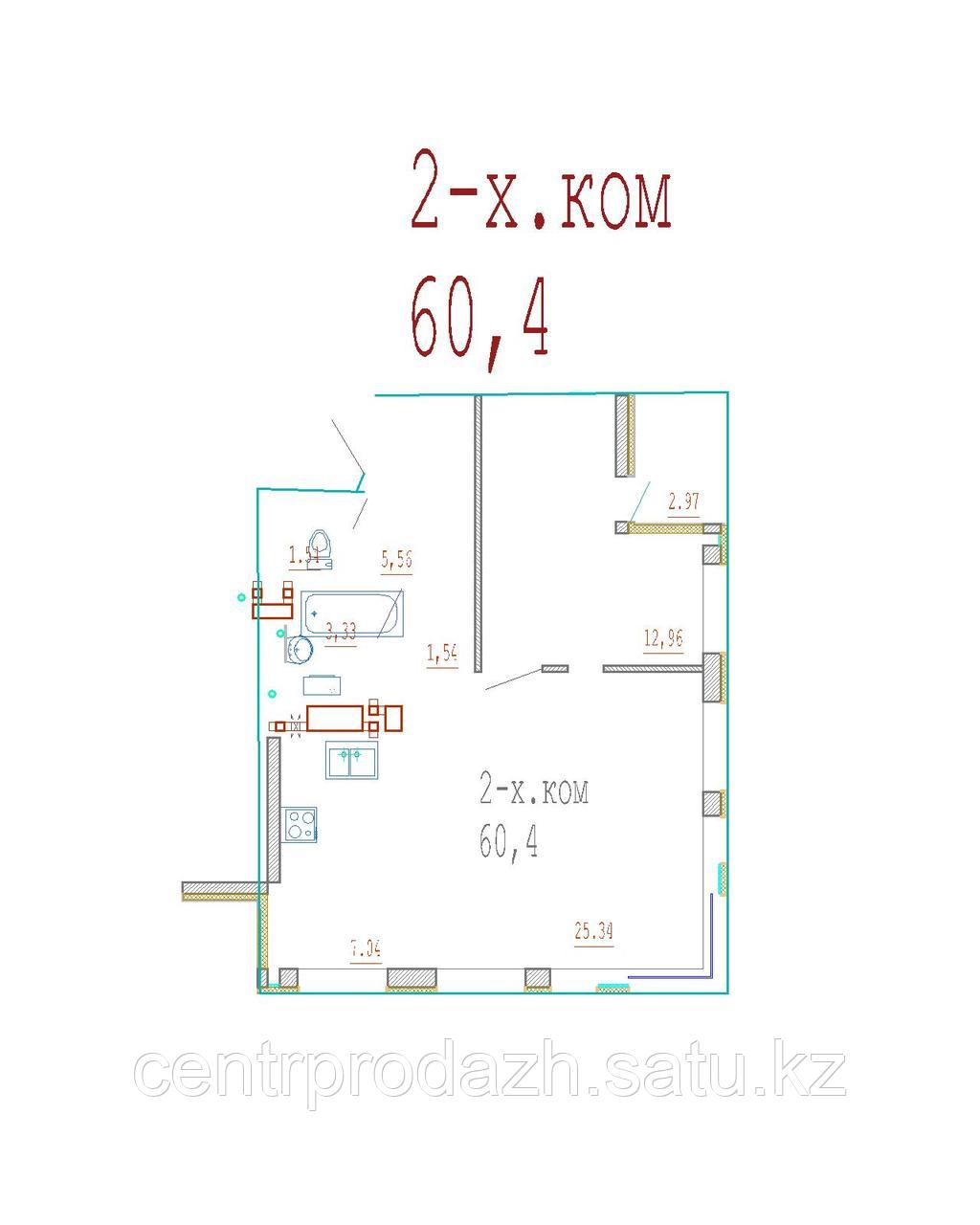 2 комнатная квартира в ЖК Кристалл 2 60.4 м²