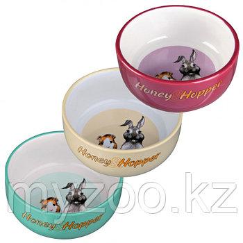 Миска для кроликов, морских свинок. Керамика. Honey & Hopper.Цветразличный с рисунком.250 ml/ø 11 cm