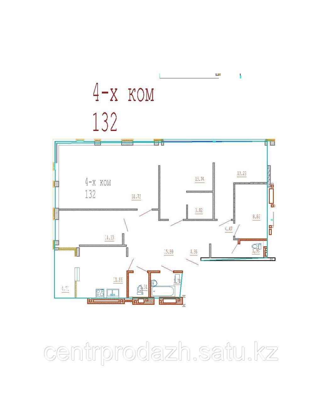 4 комнатная квартира в ЖК Кристалл 2 132 м²