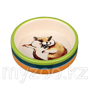 Миска керамическая для кормления хомячков. Разноцветная. Р-р 80 ml/ø 8 cm