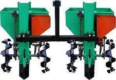 Картофелесажалка двухрядная для мототрактора(1 точка) 90 л с бункером NEW (новые грунтозацепы)