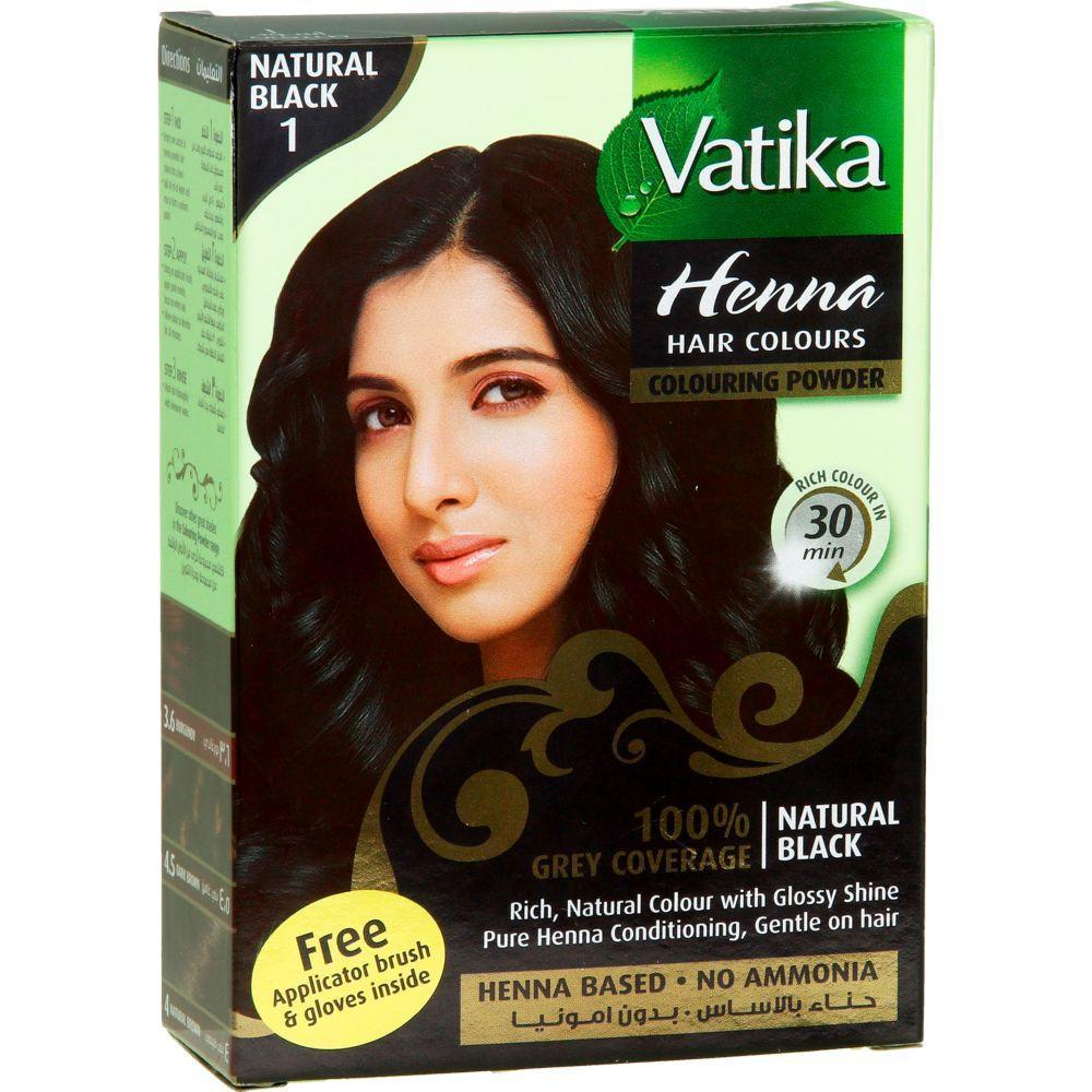 Индийская чёрная краска для волос Vatika Henna с хной