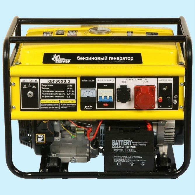 Генератор бензиновый трехфазный КЕНТАВР КБГ-605Э/3 (6.0 кВт)