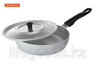 Сковорода алюминиевая,22 см, с крышкой МТ-027, фото 2