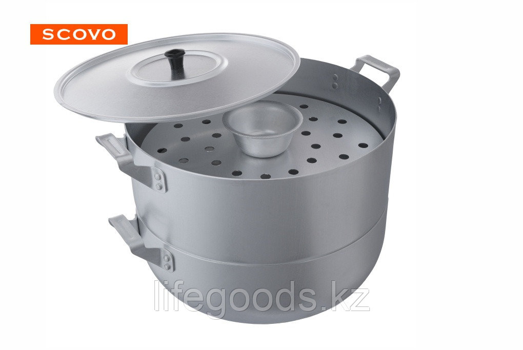 Манты-казан алюминиевый, 6 л, 4 диска МТ-040