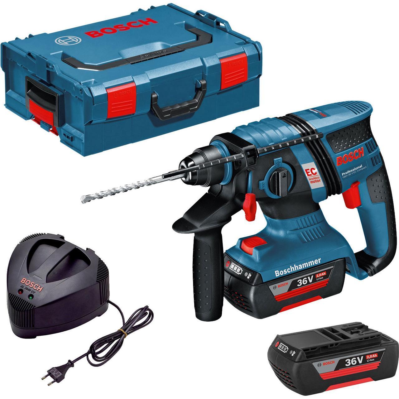 Перфоратор аккумуляторный Bosch GBH 36 V-Li Compact + оснастка + Кейс L-Boxx