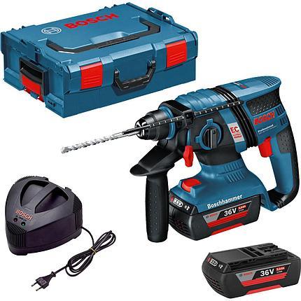 Перфоратор аккумуляторный Bosch GBH 36 V-Li Compact + оснастка + Кейс L-Boxx, фото 2