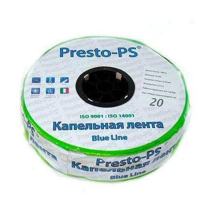Капельная лента Presto-PS щелевая Blue Line отверстия через 20 см, расход воды 2,4 л/ч, длина 500 м, фото 2
