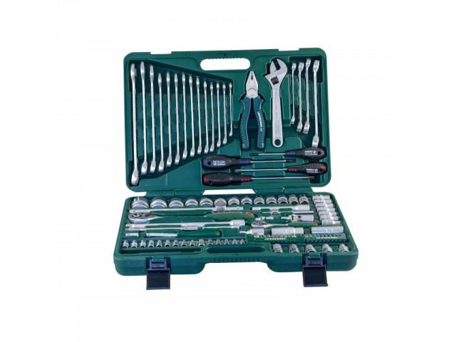 """Универсальный набор торцевых головок 1/4""""DR 4-10 мм и 1/2""""DR 8-32 мм, комбинированных ключей 8-24 мм и отверто"""