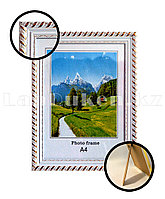 Рамка А4 для документов и фотографий 26х35 см белая с золотистыми вставками