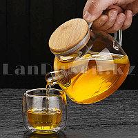 Чайник заварочный стеклянный с ситом на носике и деревянной крышкой 1 L для чая и кофе