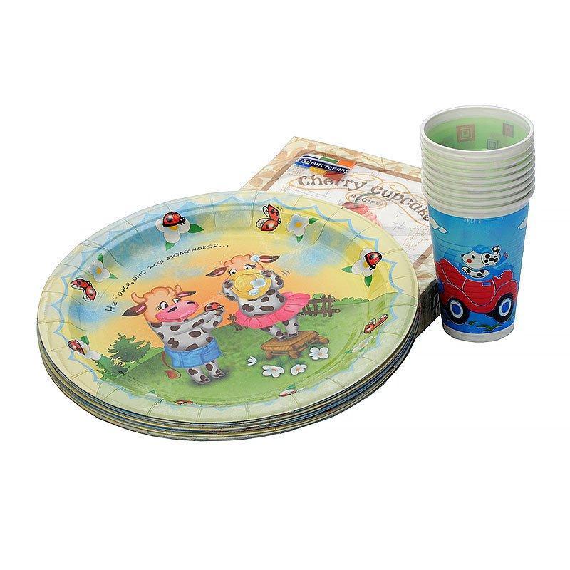 """Набор """"Детский"""", (10 стаканов,10 карт.тар.d-230мм,20 салфеток) дизайны в ассортименте, арт. 677625, 10 шт"""