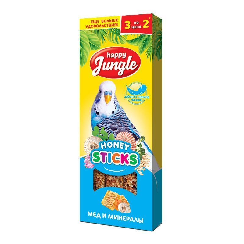 Лакомство для птиц при линьке Happy Jungle Мёд и минералы