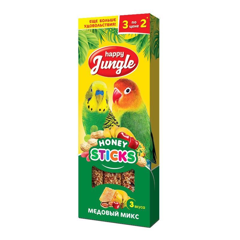 "Лакомство для птиц ""Happy Jungle"", палочки, медовый микс (3 вкуса)"