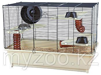 Клетка для хомяков. Дверь сверху и спереди. Р-р 62 × 46 × 36 cm Цвет - кремово-коричневый