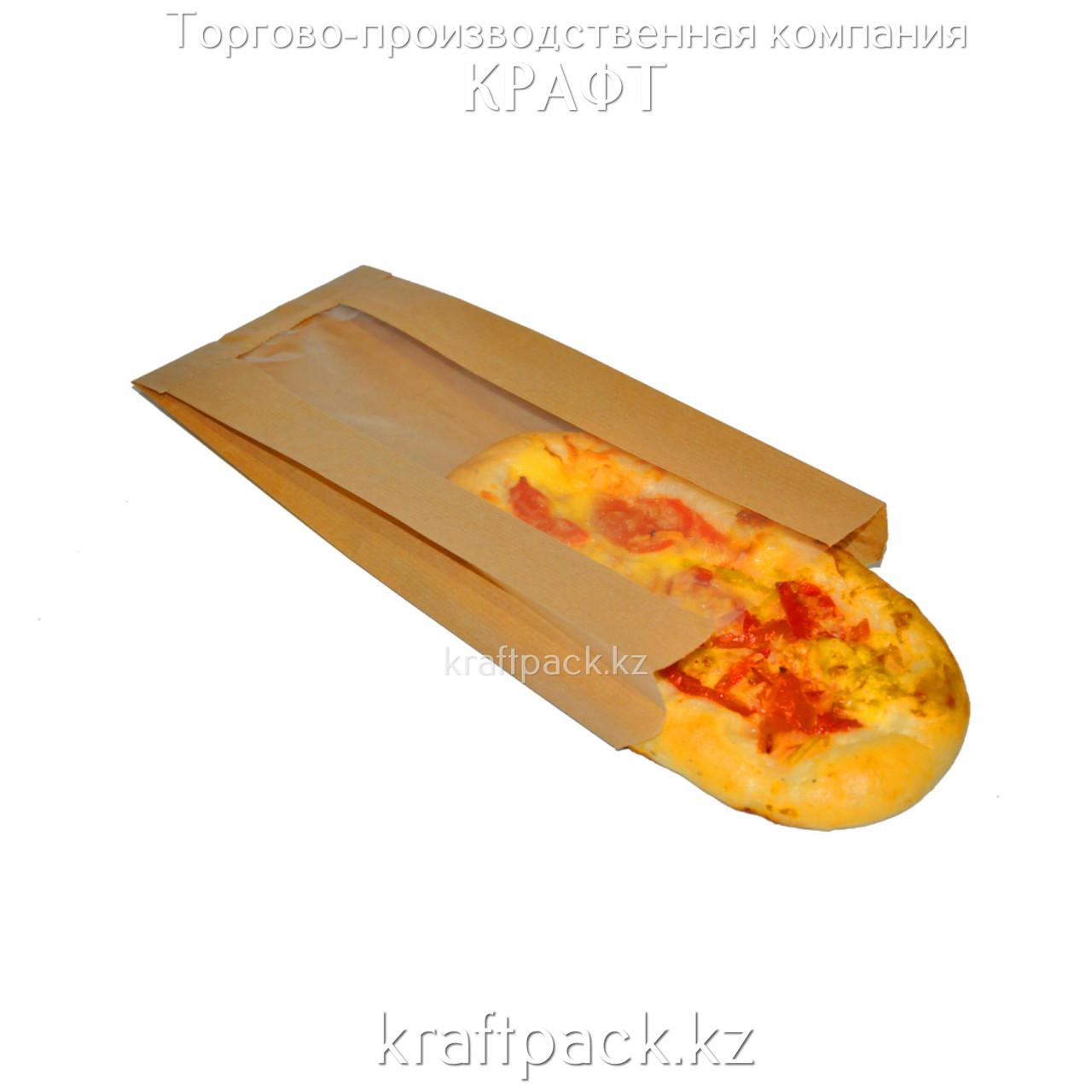 Пакет крафт, с окном, с плоским дном 130(50)*50*305 (1500шт/уп) (V2-1024)