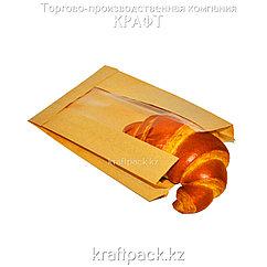 Пакет крафт, с окном, с плоским дном 140(50)*50*235 (1500шт/уп) (V2-1026)